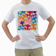 Colorful Pansies Field Men s T-Shirt (White) (Two Sided)