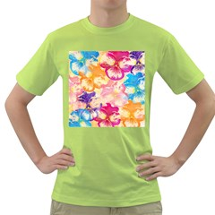 Colorful Pansies Field Green T-Shirt