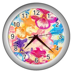 Colorful Pansies Field Wall Clocks (silver)  by DanaeStudio