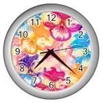 Colorful Pansies Field Wall Clocks (Silver)