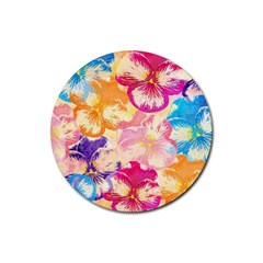 Colorful Pansies Field Rubber Coaster (Round)
