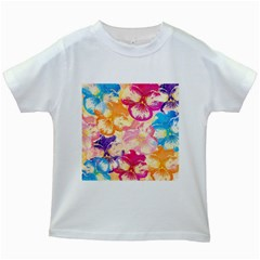 Colorful Pansies Field Kids White T-Shirts