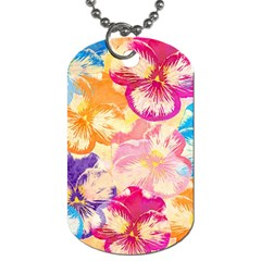 Colorful Pansies Field Dog Tag (One Side)