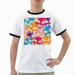 Colorful Pansies Field Ringer T-Shirts