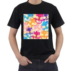 Colorful Pansies Field Men s T-Shirt (Black) (Two Sided)