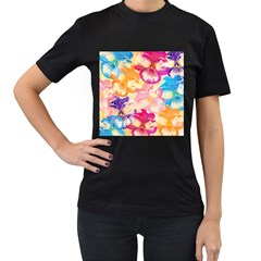 Colorful Pansies Field Women s T-Shirt (Black) (Two Sided)