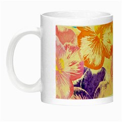Colorful Pansies Field Night Luminous Mugs by DanaeStudio