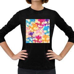 Colorful Pansies Field Women s Long Sleeve Dark T Shirts by DanaeStudio