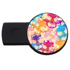 Colorful Pansies Field Usb Flash Drive Round (4 Gb)  by DanaeStudio