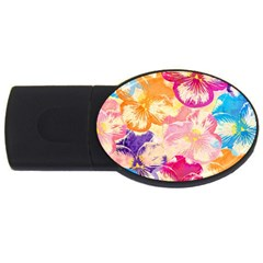 Colorful Pansies Field USB Flash Drive Oval (4 GB)