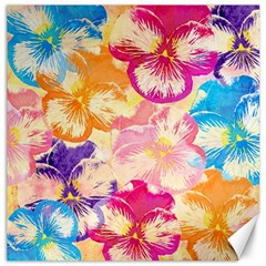 Colorful Pansies Field Canvas 16  x 16