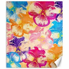 Colorful Pansies Field Canvas 20  x 24