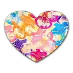 Colorful Pansies Field Heart Mousepads by DanaeStudio
