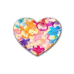 Colorful Pansies Field Rubber Coaster (heart)  by DanaeStudio