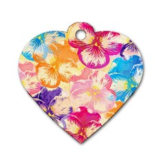 Colorful Pansies Field Dog Tag Heart (one Side) by DanaeStudio
