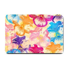 Colorful Pansies Field Small Doormat  by DanaeStudio