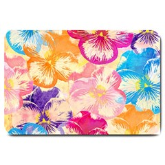 Colorful Pansies Field Large Doormat  by DanaeStudio