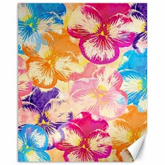 Colorful Pansies Field Canvas 11  x 14