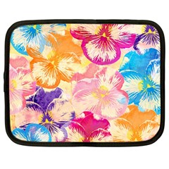 Colorful Pansies Field Netbook Case (large) by DanaeStudio