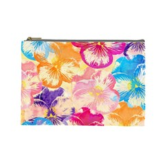 Colorful Pansies Field Cosmetic Bag (large)  by DanaeStudio