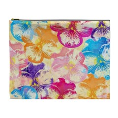 Colorful Pansies Field Cosmetic Bag (XL)