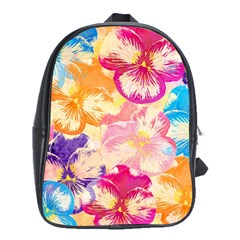 Colorful Pansies Field School Bags(large)  by DanaeStudio