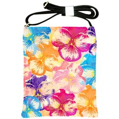 Colorful Pansies Field Shoulder Sling Bags by DanaeStudio