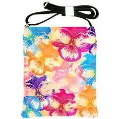 Colorful Pansies Field Shoulder Sling Bags