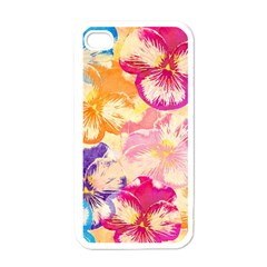 Colorful Pansies Field Apple Iphone 4 Case (white) by DanaeStudio
