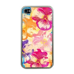 Colorful Pansies Field Apple Iphone 4 Case (clear) by DanaeStudio