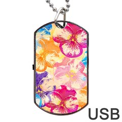 Colorful Pansies Field Dog Tag Usb Flash (two Sides)  by DanaeStudio