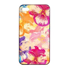 Colorful Pansies Field Apple Iphone 4/4s Seamless Case (black) by DanaeStudio