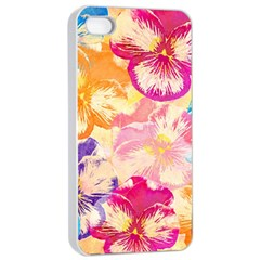 Colorful Pansies Field Apple Iphone 4/4s Seamless Case (white) by DanaeStudio
