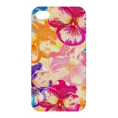 Colorful Pansies Field Apple Iphone 4/4s Premium Hardshell Case by DanaeStudio