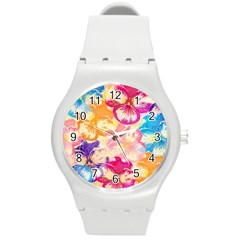 Colorful Pansies Field Round Plastic Sport Watch (m) by DanaeStudio