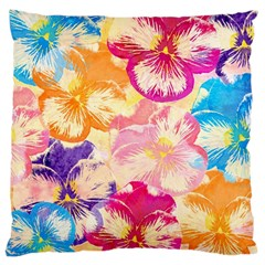Colorful Pansies Field Large Cushion Case (two Sides) by DanaeStudio
