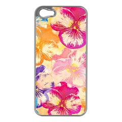 Colorful Pansies Field Apple Iphone 5 Case (silver) by DanaeStudio