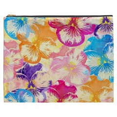 Colorful Pansies Field Cosmetic Bag (xxxl)  by DanaeStudio