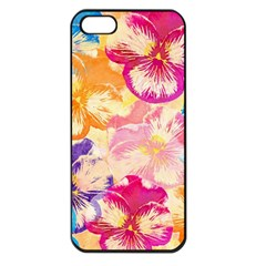 Colorful Pansies Field Apple Iphone 5 Seamless Case (black) by DanaeStudio