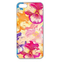 Colorful Pansies Field Apple Seamless Iphone 5 Case (clear) by DanaeStudio