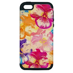 Colorful Pansies Field Apple Iphone 5 Hardshell Case (pc+silicone) by DanaeStudio