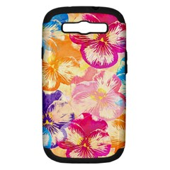 Colorful Pansies Field Samsung Galaxy S Iii Hardshell Case (pc+silicone) by DanaeStudio