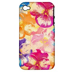 Colorful Pansies Field Apple Iphone 4/4s Hardshell Case (pc+silicone) by DanaeStudio