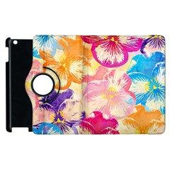 Colorful Pansies Field Apple Ipad 2 Flip 360 Case by DanaeStudio