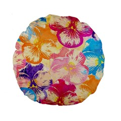 Colorful Pansies Field Standard 15  Premium Round Cushions by DanaeStudio