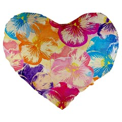 Colorful Pansies Field Large 19  Premium Heart Shape Cushions by DanaeStudio