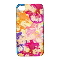 Colorful Pansies Field Apple Iphone 4/4s Hardshell Case With Stand by DanaeStudio