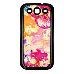 Colorful Pansies Field Samsung Galaxy S3 Back Case (black) by DanaeStudio