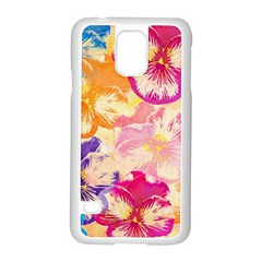 Colorful Pansies Field Samsung Galaxy S5 Case (white) by DanaeStudio