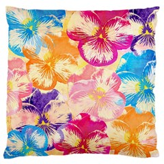 Colorful Pansies Field Large Flano Cushion Case (two Sides) by DanaeStudio